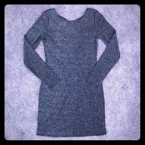 H&M Slate Gray Shimmer Longsleeve Dress - Small